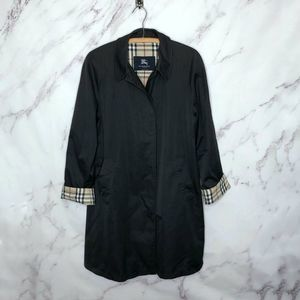 Burberry London Black Cotton Single Breasted Coat